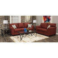 Ruby Red 7 Piece Living Room Set with Sofa Bed - Wall St.