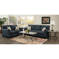 Contemporary Navy Blue 7 Piece Living Room Set - Wall St.