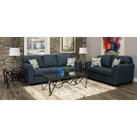 Navy Blue 7 Piece Living Room Set with Sofa Bed - Wall St.