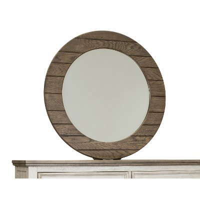 Country Tobacco Brown Round Mirror - Heartland
