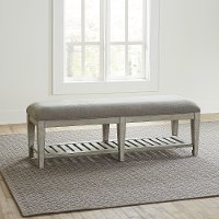 Classic Antique White Upholstered Bed Bench - Heartland