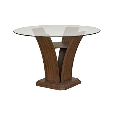 Walnut and Glass Round Counter Height Dining Room Table - Zayden