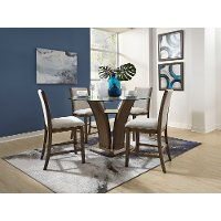 Walnut and Glass 5 Piece Counter Height Dining Set - Zayden