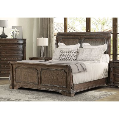 Traditional Brown Queen Sleigh Bed - Tuscany Pointe