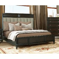 Traditional Walnut Brown Queen Upholstered Bed - Valley View
