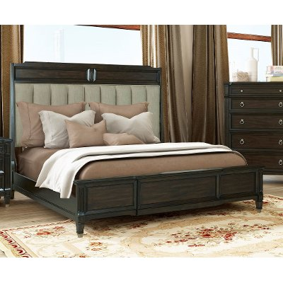 Traditional Walnut Brown King Upholstered Bed - Valley View