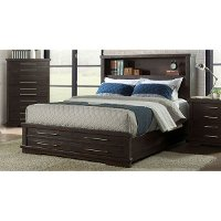 Contemporary Espresso Brown Queen Storage Bed - Waterfront