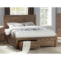 Modern Natural Acacia Queen Storage Bed - Hayden