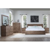 Modern Natural Acacia 4 Piece Queen Bedroom Set - Hayden
