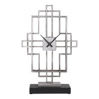 Antique Silver Open Iron Tabletop Clock on an Aged Black Base
