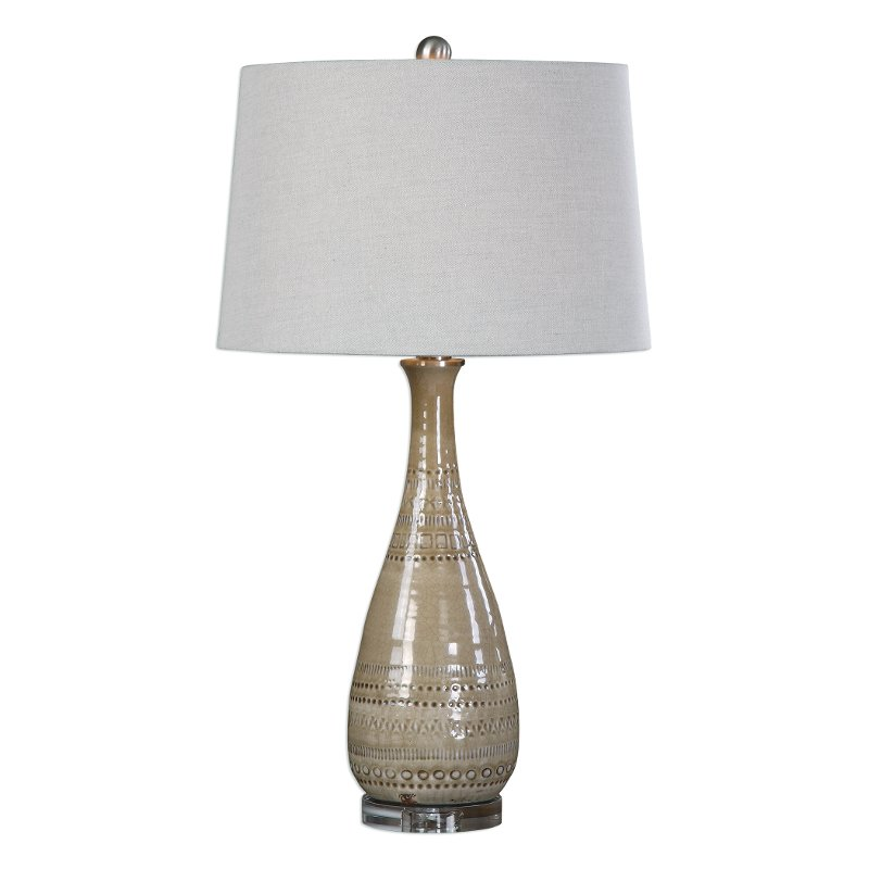 Light Taupe Ceramic Table Lamp with Brushed Nickel Details
