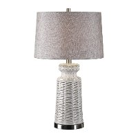 Distressed and Glossed White Glaze Ceramic Table Lamp