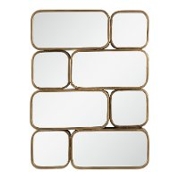 Antique Gold Rounded Squares and Rectangles Wall Mirror