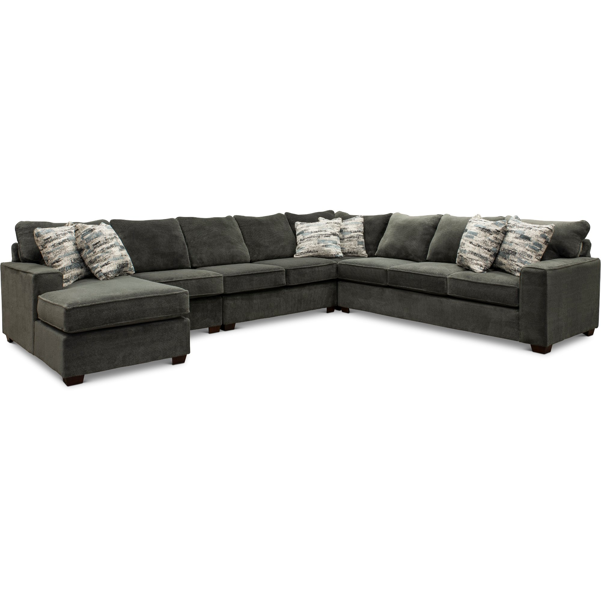 Dark Gray 5 Piece Sectional Sofa With