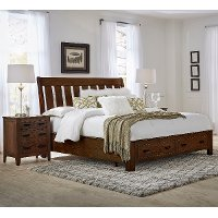 Classic Brown Queen Storage Bed - Country Roads