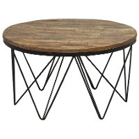 Reclaimed Wood Round Coffee Table with Hairpin Metal Legs - Aubrey