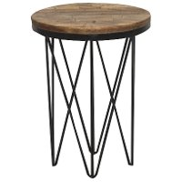 Reclaimed Wood Round End Table With Hairpin Metal Legs Aubrey Rc Willey Furniture Store