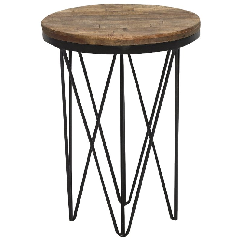 Reclaimed Wood Round End Table With Hairpin Metal Legs Aubrey
