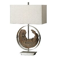 Faux Driftwood and Polished Nickel Plated Metal Table Lamp