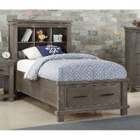 Classic Mission Gray Twin Storage Bed - Tribecca