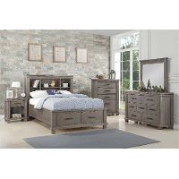 Classic Mission Gray 4 Piece Full Bedroom Set - Tribecca