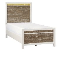 Modern White and Oak Twin Bed - Brampton