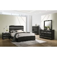 Modern Dark Brown 4 Piece King Bedroom Set - Chantal