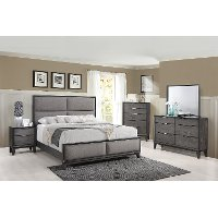 Contemporary Ash Gray 4 Piece King Bedroom Set - Florian