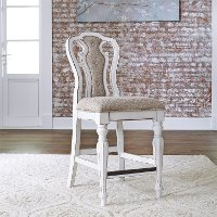 Classic White and Ivory Counter Height Stool - Magnolia Manor