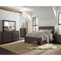 Rustic Charcoal Gray 4 Piece Full Bedroom Set - Wheaton