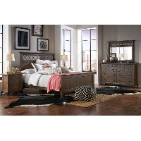Brown 4 Piece King Bedroom Set - Stone Mountain