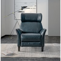 SEA Blue Leather-Match Push Back Recliner - Galaxy