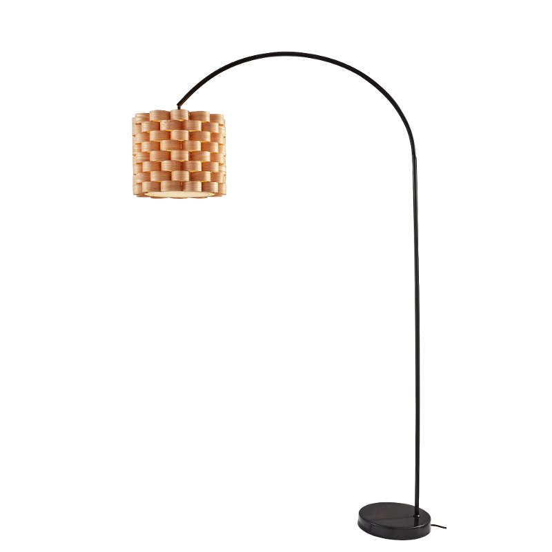 Matte Black Arc Floor Lamp with 3D Woven Shade
