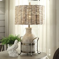 31 Inch Dairy Farm Table Lamp with Iron Accent