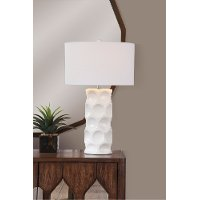Cream Ceramic Table Lamp with Cavities - Cassidy