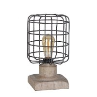 Distressed Iron Table Lamp on a Light Brown Wood Base