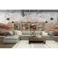 Slate Gray 5 Piece Sectional Sofa with Ottoman - Peyton