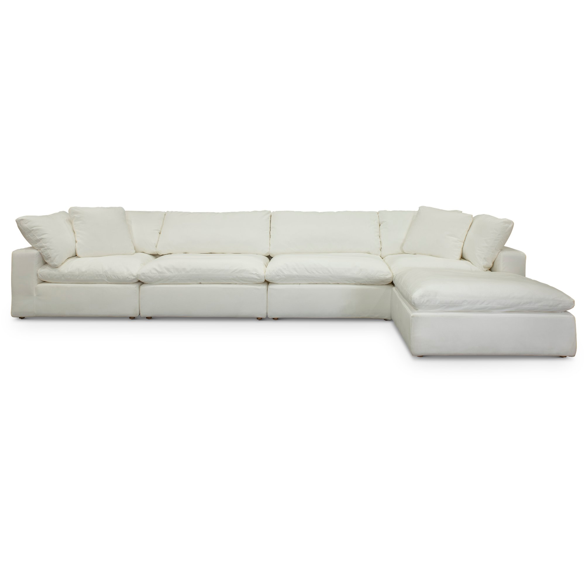 Pearl White 5 Piece Sectional Sofa With Ottoman Peyton Rc Willey Furniture