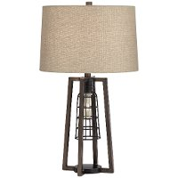 Aged Nickel Caged 2-Light Table Lamp - Julian