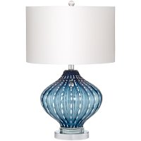 Jewel of the Sea Blue Art Glass Table Lamp with White Dot Rows