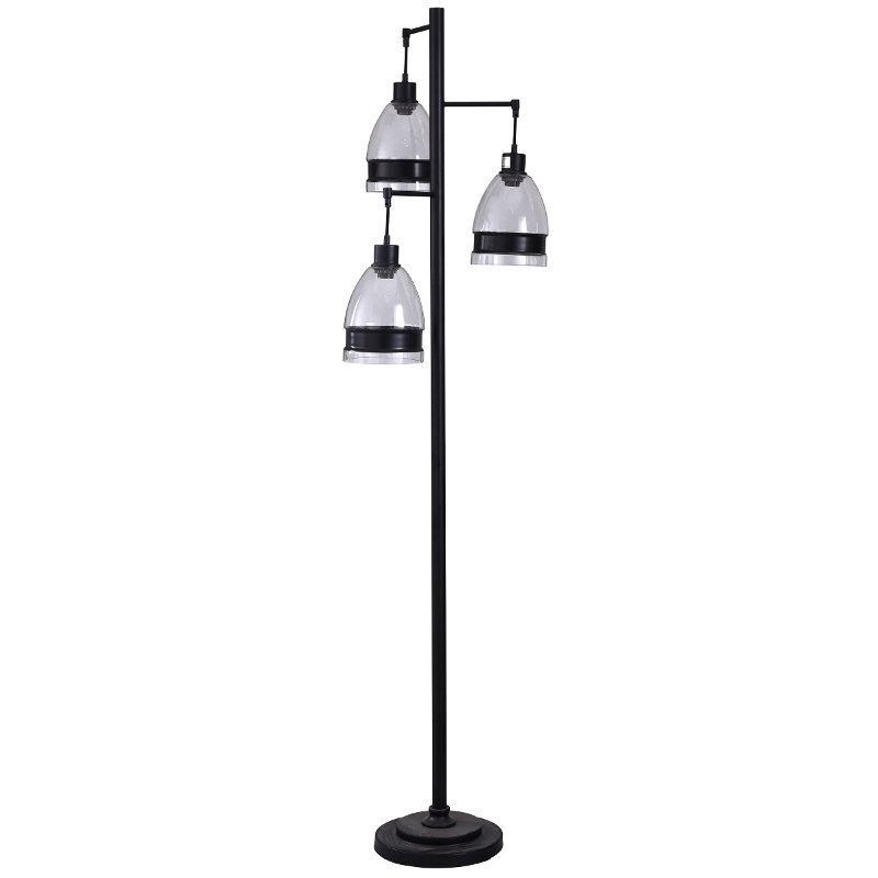72 Inch Black Metal Floor Lamp with Glass Shades