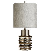 27 Inch Silver, Bronze and Glass Transitional Table Lamp