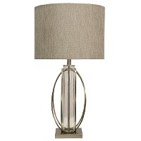 34 Inch Brushed Steel and Seeded Glass Cylinder Table Lamp