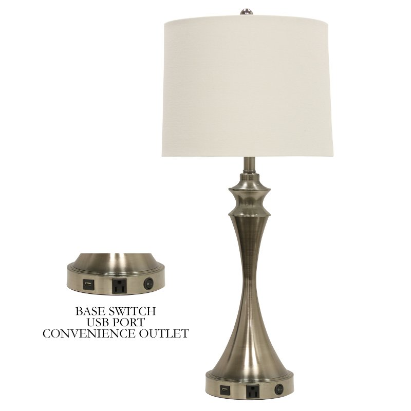 31 Inch Brushed Steel Table Lamp With Usb Port And Outlet