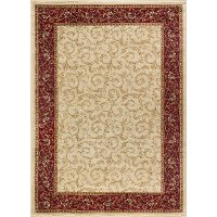 ELG54025X7 5 x 7 Medium Oriental Ivory, Gold, and Red Area Rug - Elegance