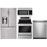 KIT LG 4 Piece Electric Kitchen Appliance Package with Smart French Door Refrigerator - Stainless Steel