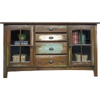Rustic Distressed Brown TV Stand - Cambridge