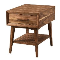 Transitional Light Walnut End Table - Venice