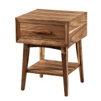 Transitional Light Walnut Small End Table - Venice