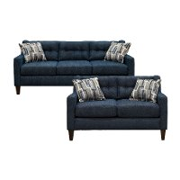 Contemporary Indigo Blue 2 Piece Living Room Set - Brody